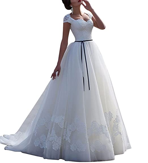 Apxpf Womens Cap Sleeves Lace Applique Wedding Dress For Bride With