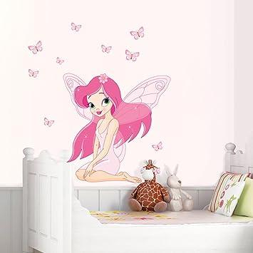 Hallobo Wandtattoo Fee Elfen Schmetterlinge Madchen Wandaufkleber Prinzessin Wandsticker Kinderzimmer Madchen Kinder Baby