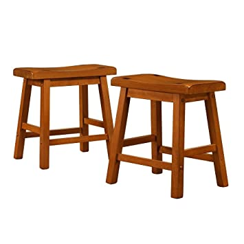 Low Salvador Saddle Back 18-inch Height Stool Barstool Dining Chair Set of 2 Honey  sc 1 st  Amazon.com & Amazon.com: Low Salvador Saddle Back 18-inch Height Stool Barstool ... islam-shia.org