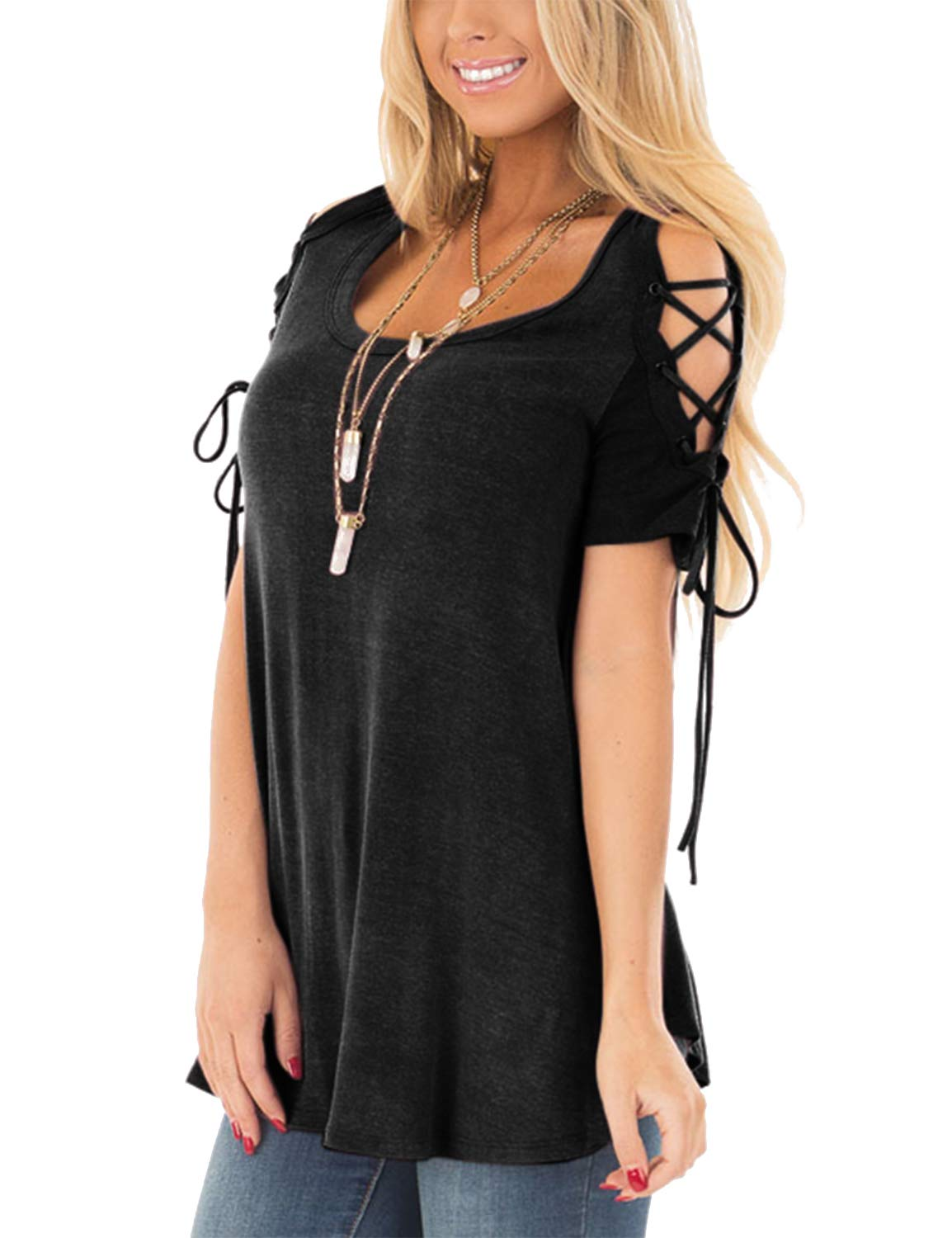 272a8b4aea6a3 80% discount on BMJL Women's V Neck Top Short Sleeve T Shirt Lace ...