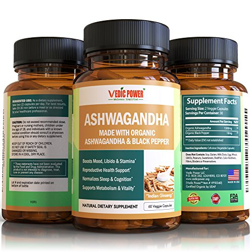 made with UDAF Certified 1300mg ORGANIC Ashwagandha/Indian Ginseng Capsules + 10mg Organic Black Pepper Extract for Best Absorption/Bioavailability Anti-Ageing Anti-Stress Memory Endurance Boost Pills