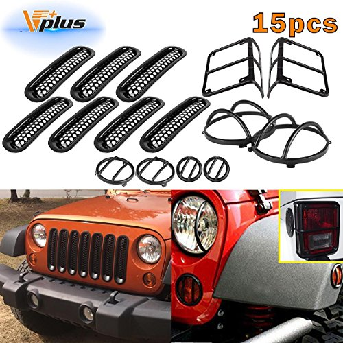 (15pcs)Black Headlight Guard Covers & Tail Light Mounting Brackets & Side Front Turn signal protectors & Front Grille Insert for Jeep Wrangler JK TJ 2007-2016 for cheap