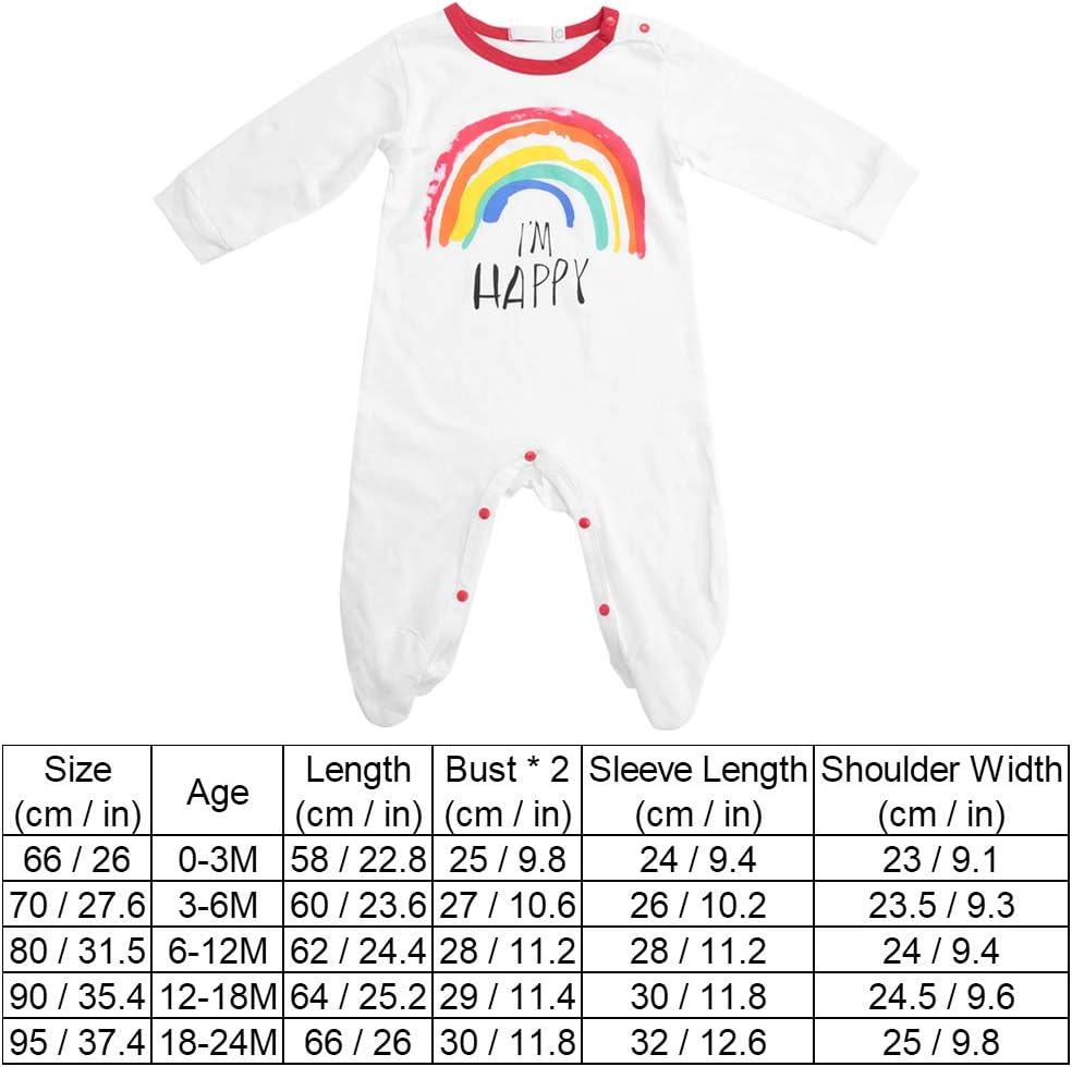 90 Newborn Jumpsuit Climbing Suit Long Sleeve Cute Rainbow Print Infant Boy Girl Outfits