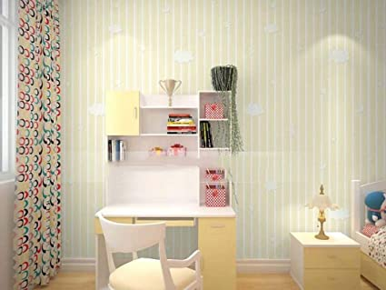 MISSYG Eco Friendly Non Woven Wallpaper Cute Warm Striped Bedroom Beige