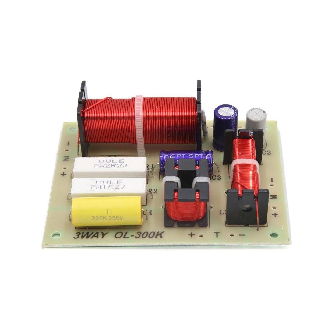 sourcingmap 2pcs Haut-parleur diviseur fr/équence audio 3 voies 180W Filtres