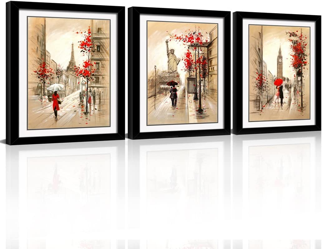 Amazon Com Framed Abstract Wall Art Romantic Paris Street Eiffel Tower Oil Painting Kissing Couple Gift Giclee Print On Canvas For Wall Deco 3pcs Set With Black Frame Posters Prints