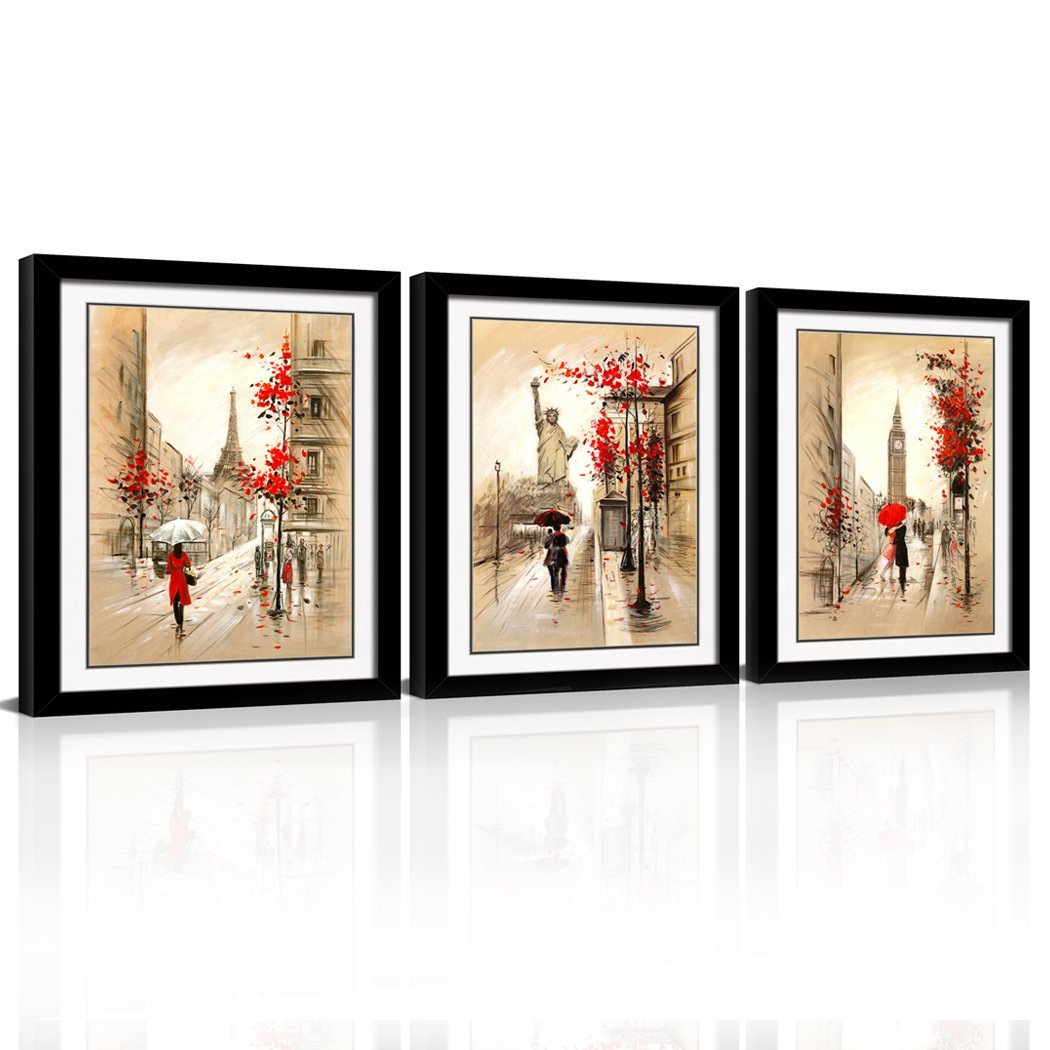 Canvaszon framed abstract wall art romantic paris street eiffel tower oil painting kissing couple gift giclee print on canvas for wall deco 3pcs set