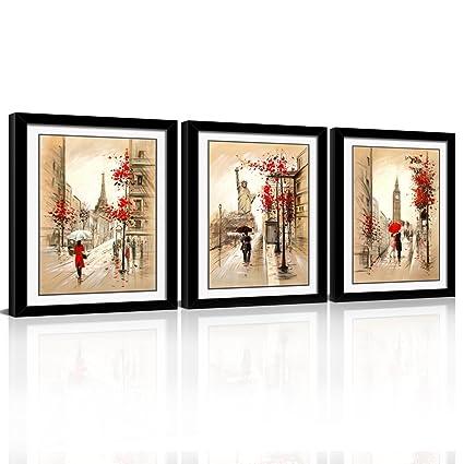 Amazon.com: SUNRISE ART Framed Abstract Wall Art Romantic Paris ...