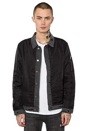 cadd68c171c4 Amazon.com: Elwood Men's Trucker Bomber Jacket (Black, M): Clothing