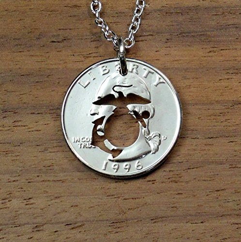 Marine Corps Pendant Necklace Or Key Ring Made From A Us Quarter