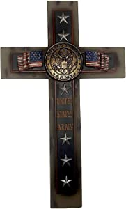 """Polly House 12"""" United States Army Wall Cross with Flag and Stars (RA4409)"""