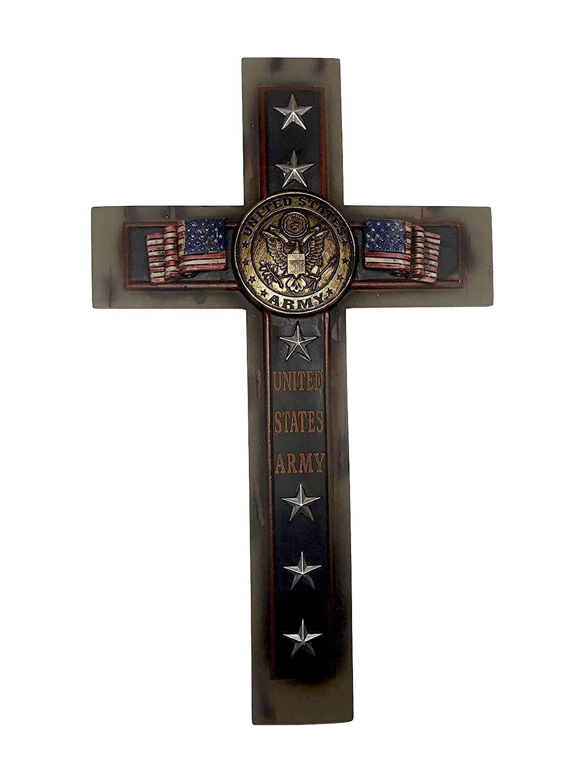 Polly House 12″ United States Army Wall Cross with Flag and Stars (RA4409)