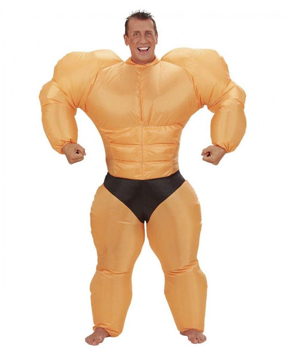 Aufblasbares Bodybuilder Muskelprotz Kostüm für Herren