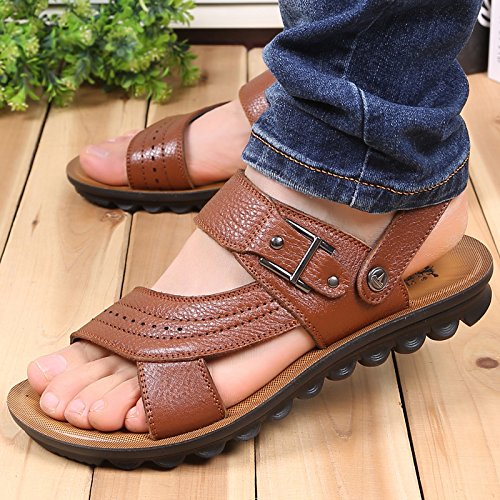 Xing Lin Sandalias De Hombre Verano Hombres Sandalias De Cuero De Los Hombres Zapatos De Hombre Casual Tendencia Transpirable Sandalias Y Zapatillas De Punta Abierta, 41, Naranja