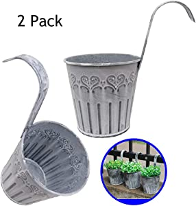 "Huaxiangoh 4.4"" x 3.9"" x 3.2"" 2PCS Vintage Iron Flower Pot Vase Wall Fence Hanging Balcony Garden Patio Planter Home Decor Balcony Garden Plant Planter, Wall Hanging Metal Bucket Flower Holders"