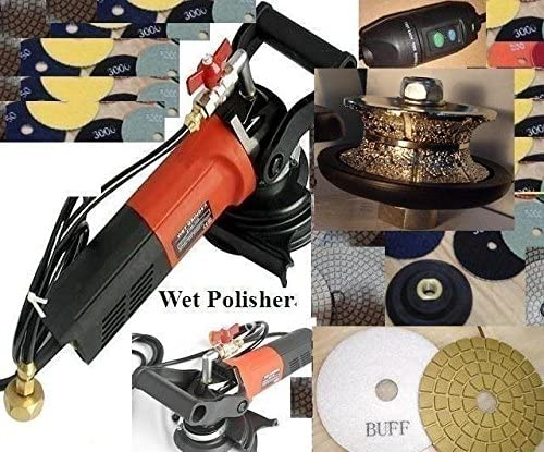 38BWVPOLSET 3/4 Inch 20mm Full Bullnose V20 Router Bit Wet Polisher Polishing 15 Pad Glaze Buff Granite Concrete Stone Travertine toolsmart