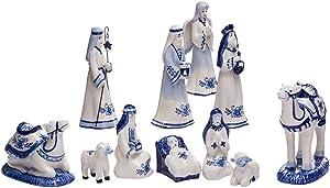 Kurt Adler 1.97-Inch by 6.7-Inch Porcelain Delft Blue 11-Piece Nativity Set