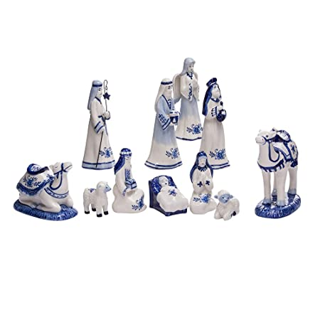 Kurt Adler 1.97-Inch by 6.7-Inch Porcelain Delft Blue 11-Piece Nativity Set