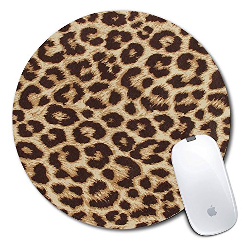 Personalized Leopard - Personalized Round Mouse Pad, Printed Leopard Pattern, Non-Slip Rubber Comfortable Customized Computer Mouse Pad (7.87x7.87inch)