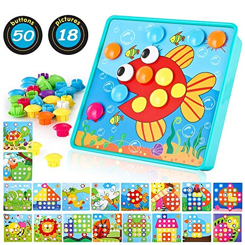 TINOTEEN Button Art Toy for Toddlers,Toddler Activities Crafts Color Matching Early Learning Educational Mosaic Pegboard 50 Buttons and 18 Pictures