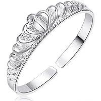 925 Sterling Silver Elegant Clip-on Button Style Floral Design Bracelet