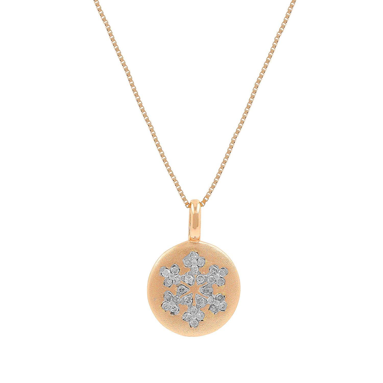 10kt Pink Gold Sandblast Disc 0.09ct Diamond Accent Snowflake Mini Pendant Necklace, 18 Inch
