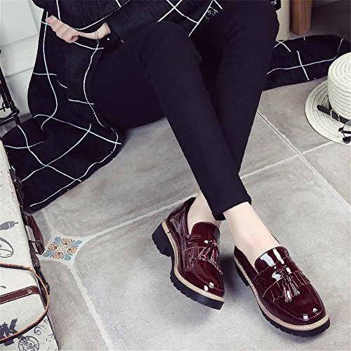 SHELAIDON Womens Patent Flat Oxford Loafers Vintage Brogues Pumps Slip On Wine 7Ed58ZLQ7