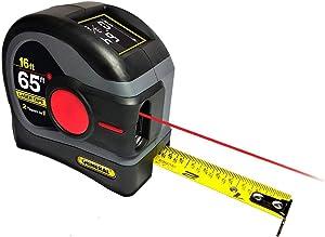General Tools LTM2X Laser Tape Measure 2-in-1, 65 Ft Laser Measure And 16 Ft Tape Measure with Large, Easy to Read Backlit Digital Display, (Model: LTM2X-GY-A)