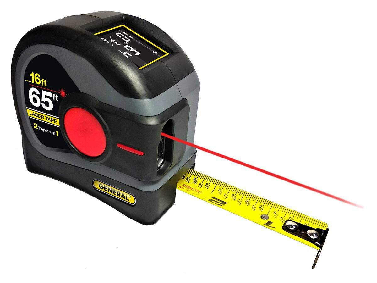 General Tools LTM2X Laser Tape Measure 2-in-1, 65 Ft Laser Measure And 16 Ft Tape Measure with Large, Easy to Read Backlit Digital Display by General Tools