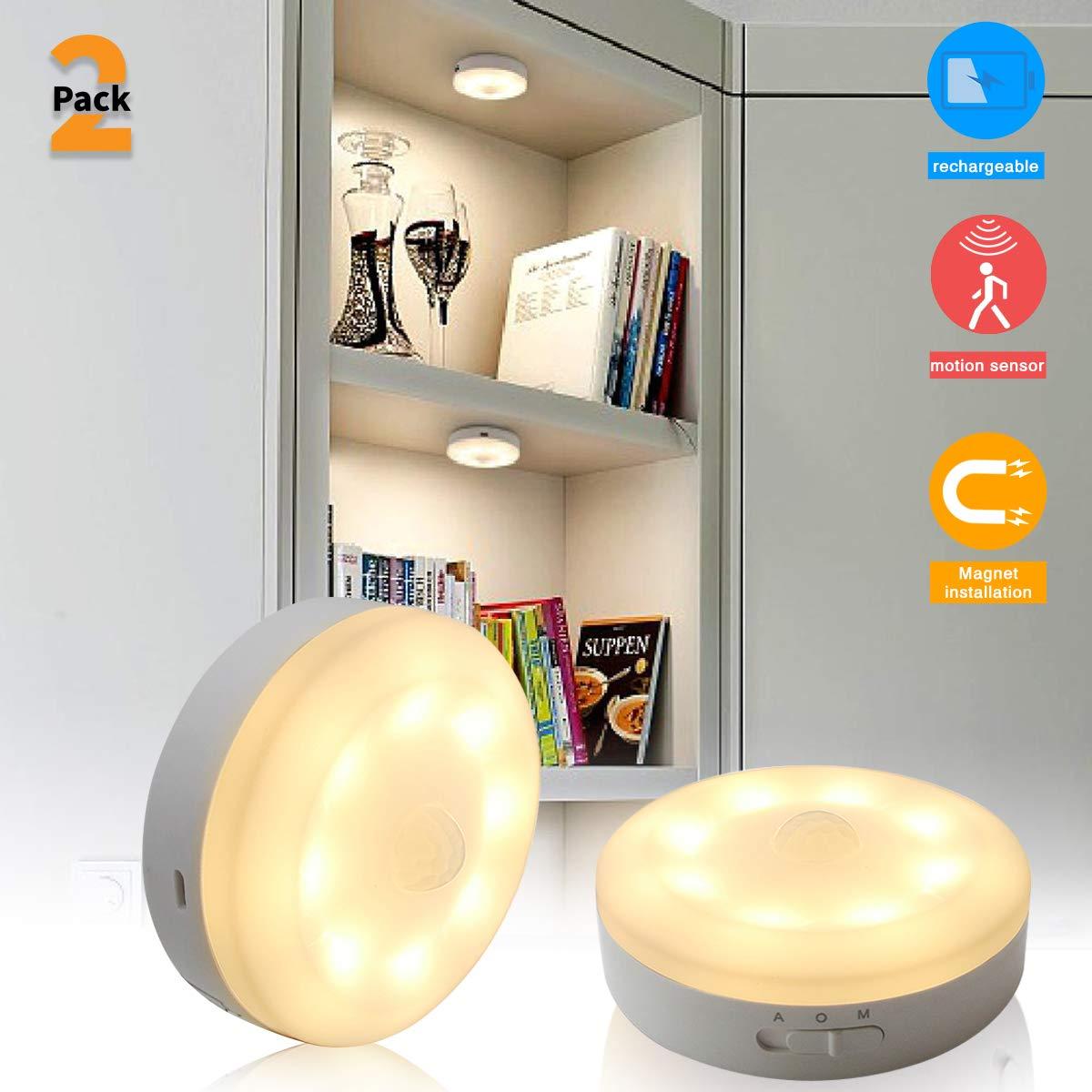 BASON LIGHTING 2019 Upgraded USB Rechargeable Puck Lights,Motion Sensor Under Cabinet Lighting,Wireless Stick on Lights for Hallway, Bathroom, Bedroom, Kitchen, etc.- Soft White 3000K, 2-Pack