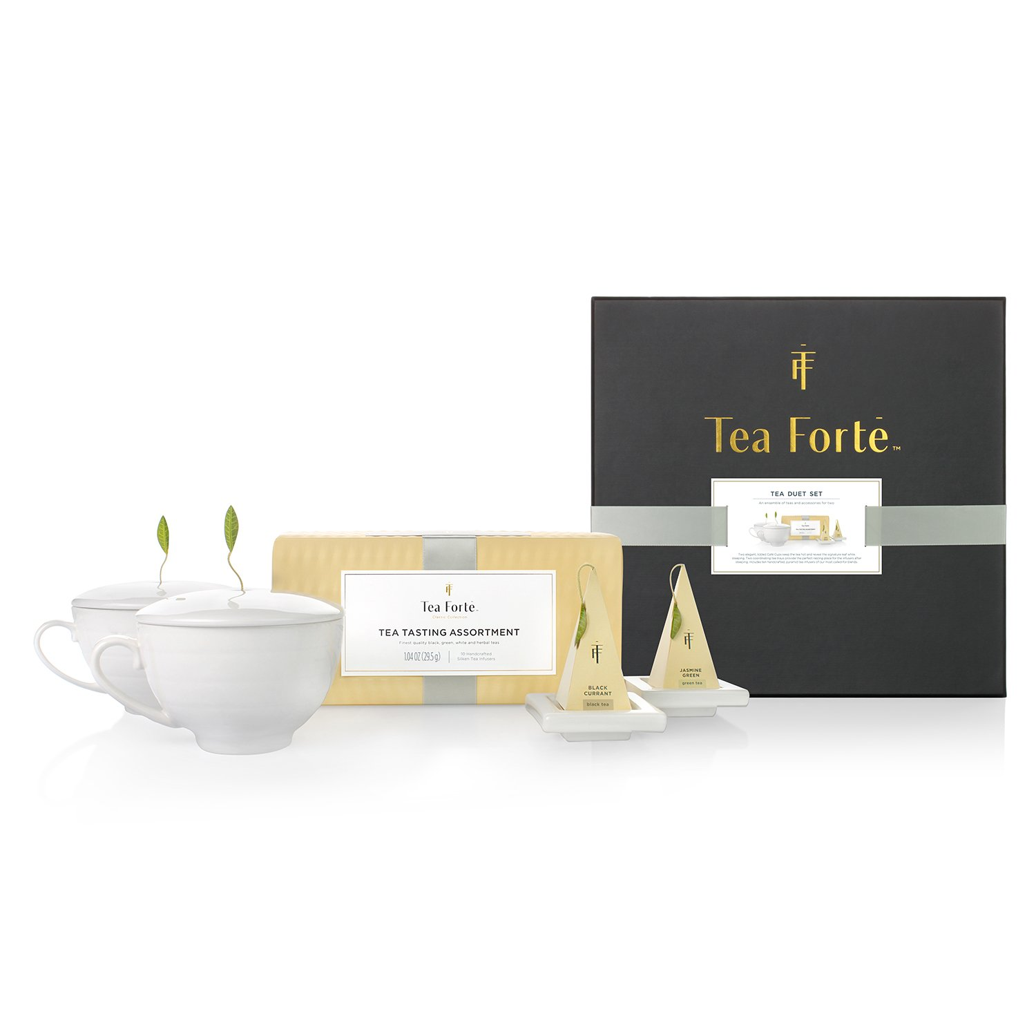 Tea Forte Duet Gift Set with Tea Tasting Petite Presentation Box, Two Cafe Cups with Lids and Two Tea Trays