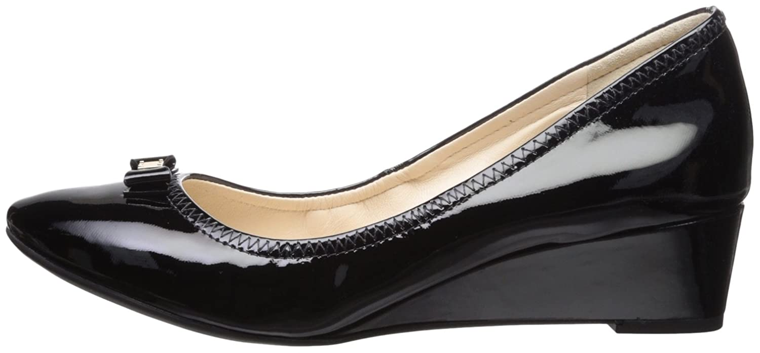 Cole Haan Women's Tali Mini Bow Wedge Pump B074B94496 5 B(M) US|Black Patent