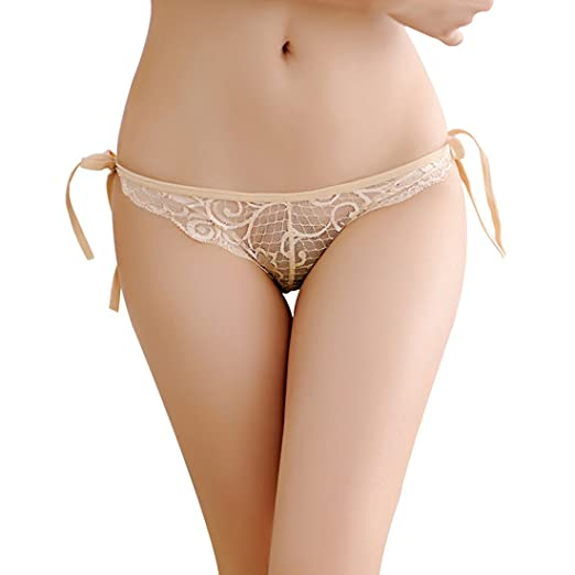 872d119f0f Milly Store Women Tie Panties Bowknot Ribbons Lace Invisible Crotch Panties  Adjustable G-String Underwear