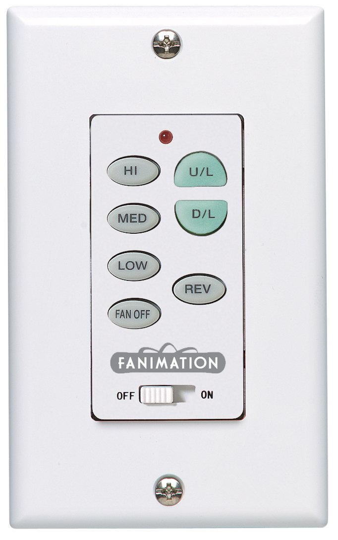 Fanimation C23 White Wall Control for Fan and Light, 3 Speeds and Reversing