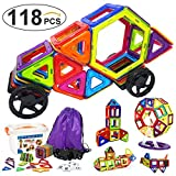 Frolk 118 Pcs. Magnetic Building Blocks / Tiles Set for 3D Construction for Kids Age 3+. Educational Toy for girls and boys. Hours of Fun! Comes with Plastic Storage Box and Premium Backpack.