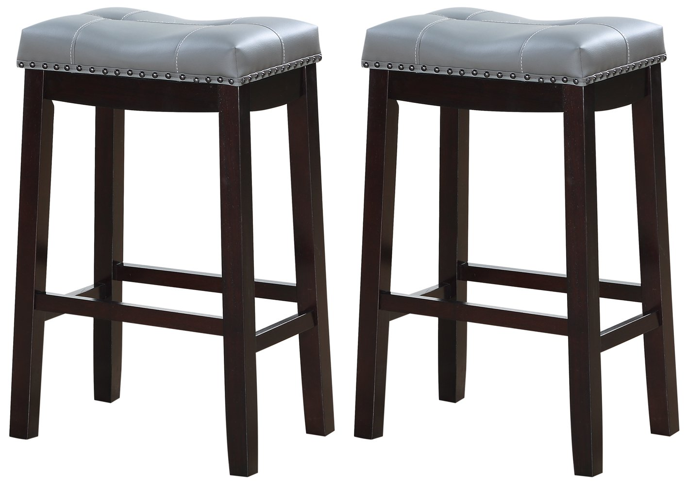Angel Line Cambridge Bar Stools, 29 Set of 2, Espresso with Gray Cushion