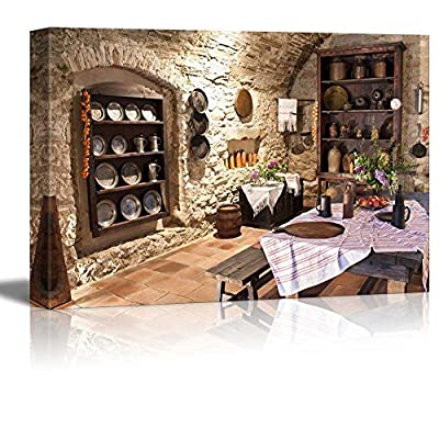 Canvas Prints Wall Art - Old Kitchen of Castle, Slovakia Vintage Style Interior Art | Modern Wall Decor/Home Art Stretched Gallery Canvas Wrap Giclee Print & Ready to Hang - 12
