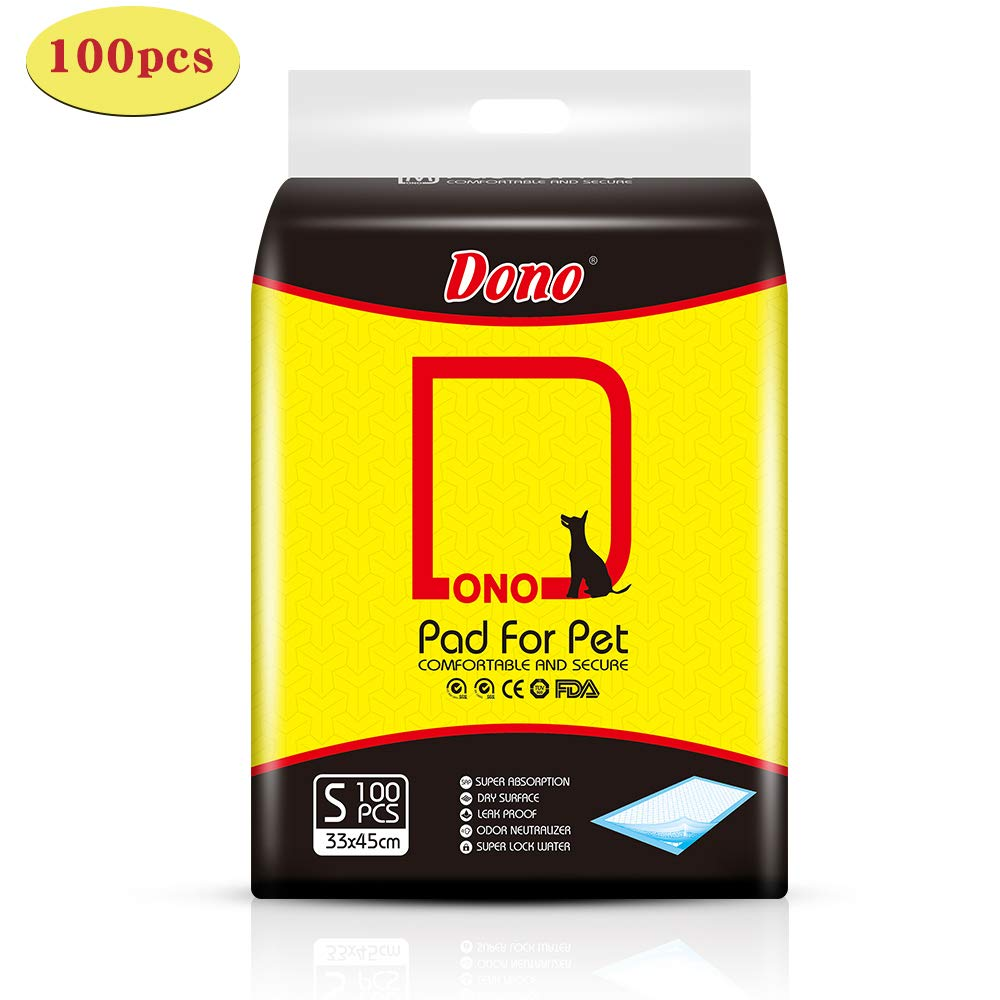 S 100pcs DONO Pet Training Pee Incontinence Pads for Dogs & Cats Pet Training 2018 New Puppy Pads Mats for Younger Pets, Adult Pets Anti Slip & Leakproof Super Absorption (S 100pcs)