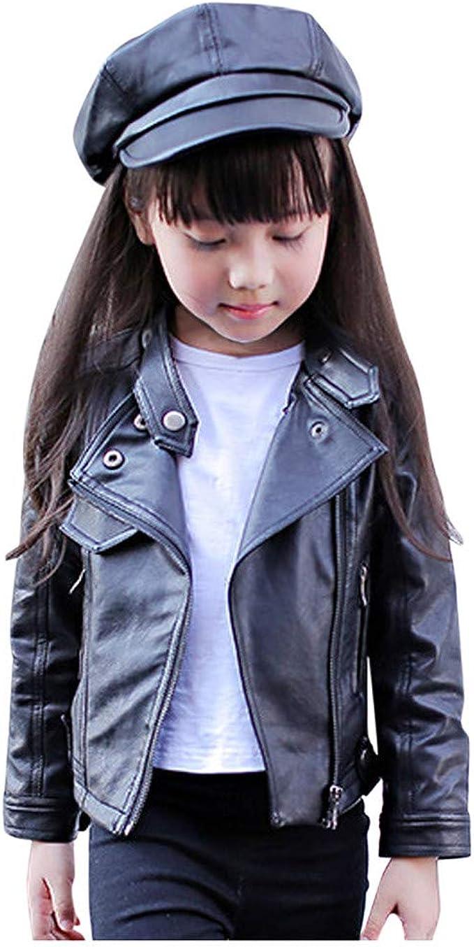 UNIQUEONE Baby Boys Girls Kids Outfits Spring Autumn PU Faux Leather Lapel Jacket Oblique Zipper Outerwear Coat