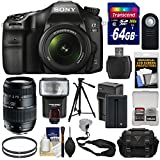 Sony Alpha A68 Digital SLR Camera & 18-55mm Lens with 70-300mm Lens + 64GB + Battery & Charger + Case + Strap + Tripod + Flash + Kit