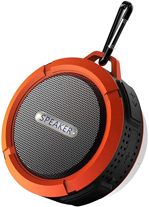 Waterproof Bluetooth Wireless Speaker,with 5W Driver,Suction Cup,Built-Mic,Hands Free Speakerphone-Red