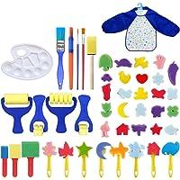 ULTNICE Kids Paint Arts and Crafts Kits Toddler DIY Learning Foam Brushes Apron Sponge Pattern Drawing Tool 46 Pcs