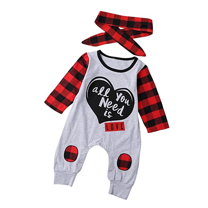 Ropa Bebe ,Fossen ALL YOU NEED IS LOVE Cuadros Mono Pijamas de Mangas largas Peleles
