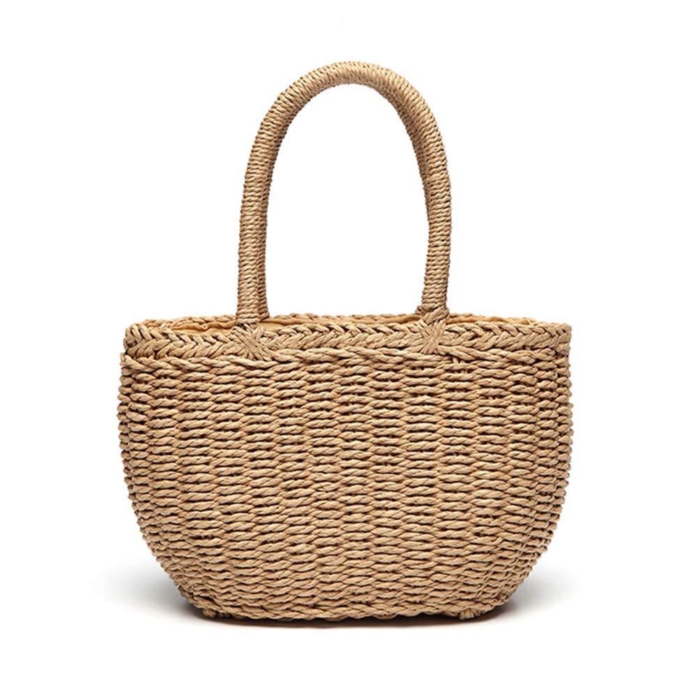 gaeruite Sommer Stroh Gewebt Strandtasche fü r Mä dchen Frauen, Handgemachte Rattan Handtasche Korb Picknick Tasche Umhä ngetasche