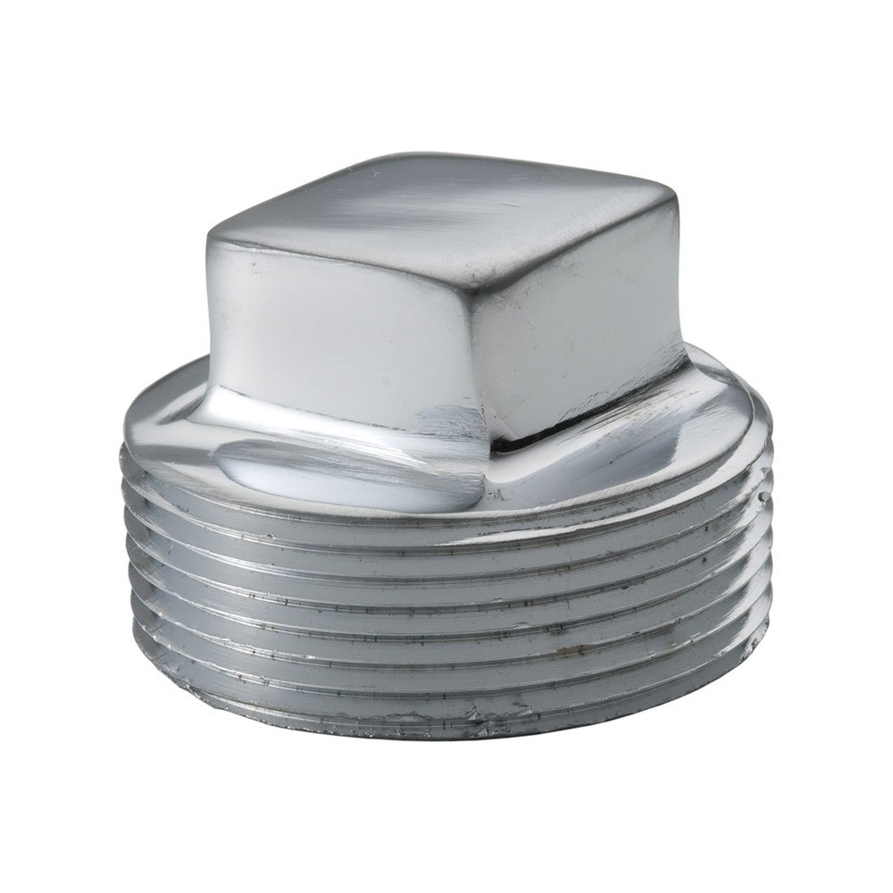 1//8 NPT Male Square Head Solid Plug Chrome Plated Brass Pipe Fitting