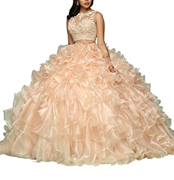 ff7411c21b9 LastBridal Women Organza Lace Appliques Two Piece Ball Gown Sweet 16  Quinceanera Dresses LB0180 at Amazon Women s Clothing store