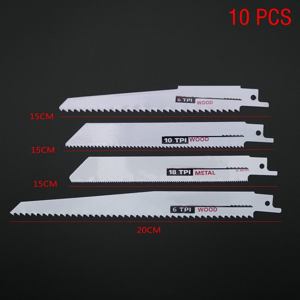 10Pcs/Set Reciprocating Saw Blades Kit Woodworking Cutting Power Hand Tools Sets