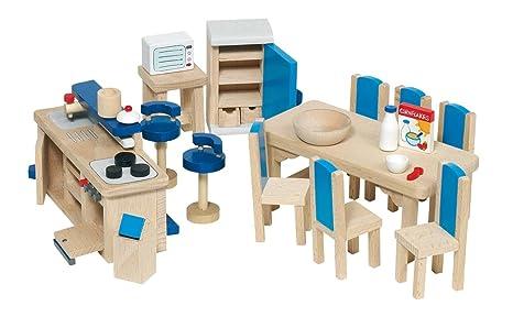 Mobili Per Casa Delle Bambole : Goki 51907 mobili per casa delle bambole cucina 30 pezzi: amazon