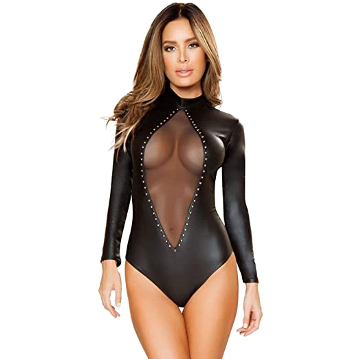 ACZZ Sexy Pvc negro Body Zipper Latex Wetlook Catsuit ...