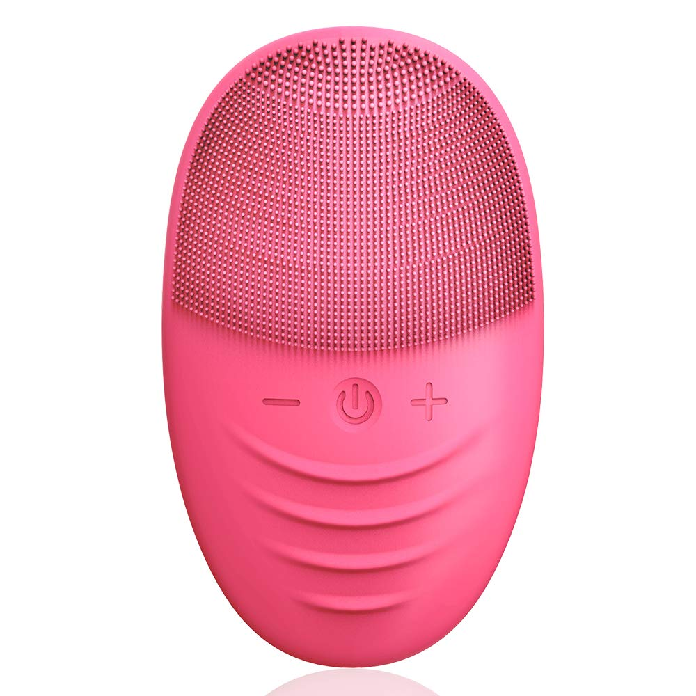 NiHO Facial Exfoliating Brush, Silicone Cleansing Brush Face Scrubbers, Anti-Aging Face Massager for All Skin Type Gentle Deep Cleansing and Skin Care, IPX7 Waterproof, Wireless Charging, Rose Red